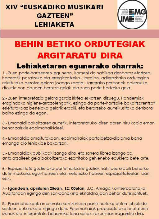 publicados horarios definitivos para web euskera